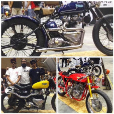 "A couple of cool #preunit #triumph ""TryHarder"" bikes with reverse heads that were built by @rottenmotocycles from Penang, Malaysia that were on display at the @artofspeedmy Kustom Kulture show last weekend. Photos by Asep. pretty neat concept, peep this"